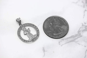 CaliRoseJewelry Sterling Silver Saint Francis of Assisi Pray for Us Round Charm Pendant Necklace
