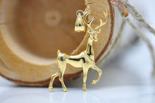 Load image into Gallery viewer, CaliRoseJewelry 14k Gold Christmas Santa Reindeer Deer Antlers Charm Pendant