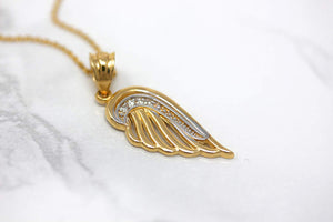 CaliRoseJewelry 14k Gold Feather Dainty Angel Wing Diamond Pendant Necklace