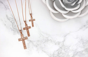 14k Rose Gold INRI Crucifix Cross Catholic Jesus Pendant Necklace