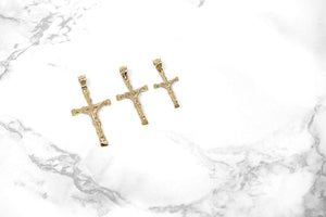 CaliRoseJewelry Yellow Gold Jesus on The Cross Crucifix Textured Pendant