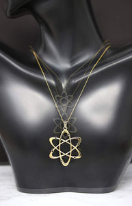 CaliRoseJewelry 10k Yellow Gold Carbon Atom Science Reversible Charm Pendant Necklace