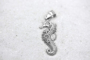 CaliRoseJewelry Sterling Silver Filigree Seahorse Charm Pendant Necklace