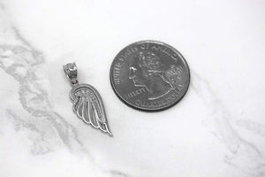 CaliRoseJewelry 10k Gold Feather Dainty Angel Wing Diamond Pendant