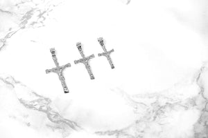 CaliRoseJewelry 10k White Gold Jesus on The Cross Crucifix Textured Pendant Necklace
