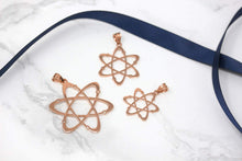Load image into Gallery viewer, CaliRoseJewelry 14k Rose Gold Carbon Atom Science Reversible Charm Pendant