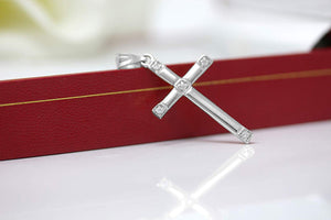 CaliRoseJewelry 10k Classy Elegant Diamond Simple Cross Charm Pendant