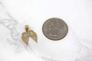 CaliRoseJewelry 10k Gold Feather Dainty Angel Double Wing Diamond Pendant Necklace