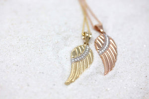 CaliRoseJewelry 14k Rose Gold Feather Angel Wing Diamond Pendant Necklace