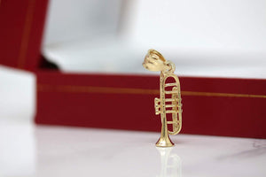 CaliRoseJewelry 10k Gold Trumpet Horn Charm Pendant Necklace