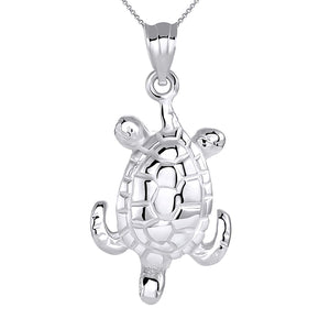 CaliRoseJewelry Sterling Silver Lucky Honu Sea Turtle Tortoise Longevity Charm Pendant Necklace