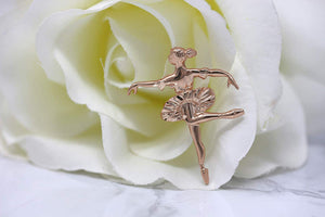 CaliRoseJewelry 14K Gold Ballerina Dancer Ballet Girl Woman Charm Pendant Necklace