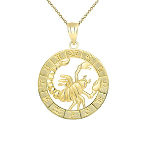 CaliRoseJewelry 14k Yellow Gold Zodiac Pendant Necklace