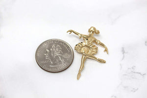 CaliRoseJewelry 10k Gold Ballerina Dancer Ballet Girl Woman Charm Pendant