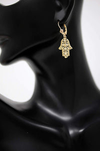 CaliRoseJewelry 10k Yellow Gold Hamsa Hand Cubic Zirconia Pendant Necklace and Earrings Set