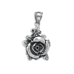 CaliRoseJewelry Sterling Silver Beautiful Rose Oxidized Antique Rose Charm Pendant Only