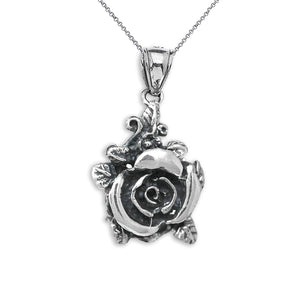 CaliRoseJewelry Sterling Silver Beautiful Rose Oxidized Antique Rose Charm Pendant Necklace