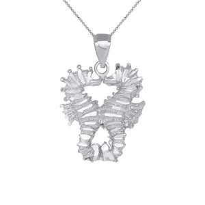 CaliRoseJewelry 14k Two Seahorses Kissing Charm Pendant Necklace
