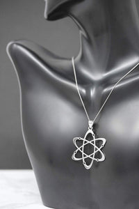 CaliRoseJewelry 14k White Gold Carbon Atom Science Reversible Charm Pendant Necklace