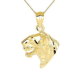 CaliRoseJewelry 10k Gold Tiger Head Charm Pendant Necklace