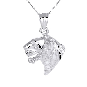CaliRoseJewelry Sterling Silver Tiger Head Charm Pendant Necklace