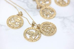 CaliRoseJewelry 10k Yellow Gold Zodiac Pendant Necklace