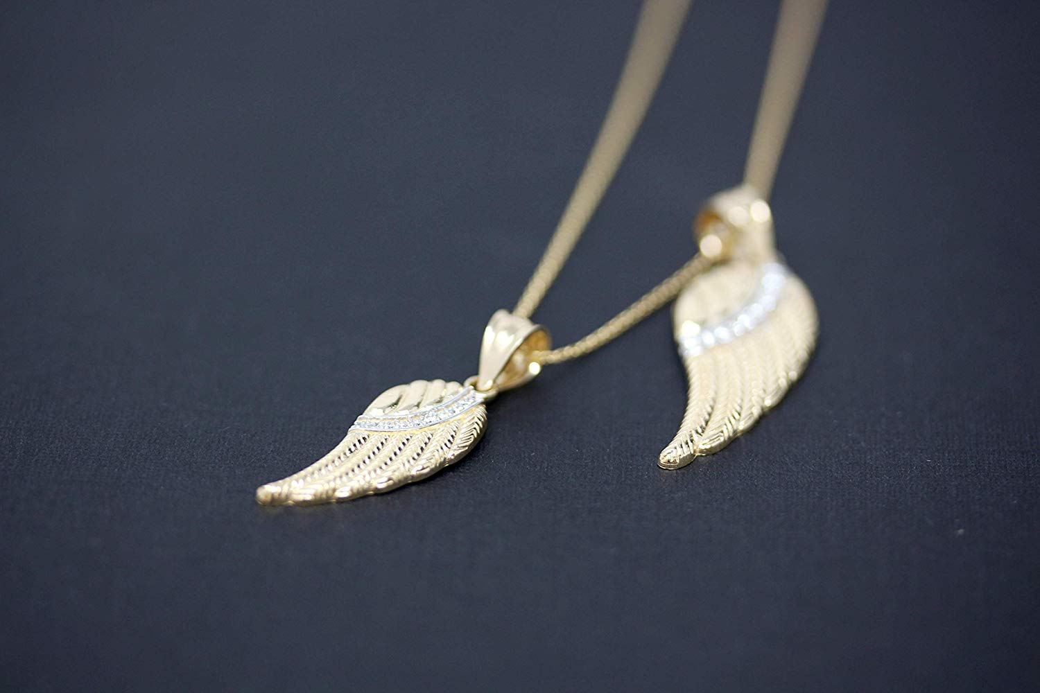 CaliRoseJewelry 10k Yellow Gold Feather Angel Wing Diamond Pendant Necklace