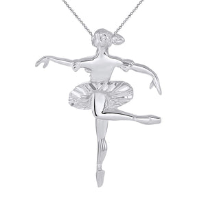 CaliRoseJewelry Sterling Silver Ballerina Dancer Ballet Girl Woman Charm Pendant Necklace