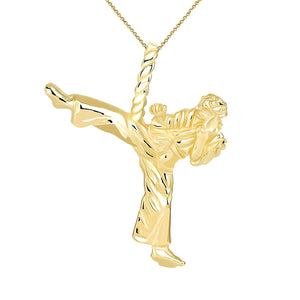 10k Gold Karate Student Karate Master Martial Arts Charm Pendant Necklace