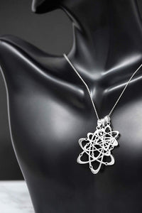 CaliRoseJewelry 10k White Gold Carbon Atom Science Reversible Charm Pendant Necklace