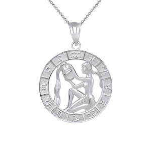 CaliRoseJewelry Sterling Silver Zodiac Pendant Necklace