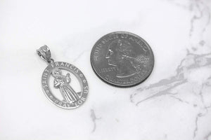 CaliRoseJewelry Sterling Silver Saint Francis of Assisi Pray for Us Oval Charm Pendant