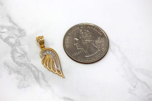 CaliRoseJewelry 10k Gold Feather Dainty Angel Wing Cubic Zirconia Pendant