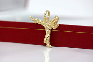 14k Gold Karate Student Karate Master Martial Arts Charm Pendant Necklace