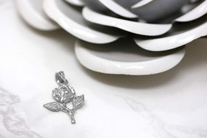 Sterling Silver Rose Stem Charm Pendant