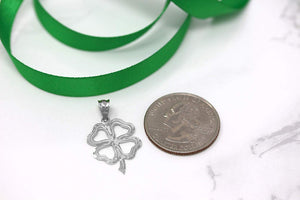 CaliRoseJewelry 10k Lucky Charm Four Leaf Clover Shamrock Irish Pendant Necklace
