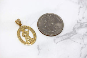 CaliRoseJewelry 14k Gold Saint Francis of Assisi Pray for Us Oval Charm Pendant