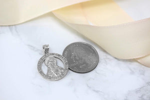 CaliRoseJewelry Sterling Silver Sacred Heart Jesus Have Mercy on Us Round Pendant
