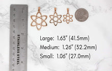 Load image into Gallery viewer, CaliRoseJewelry 10k Rose Gold Carbon Atom Science Reversible Charm Pendant