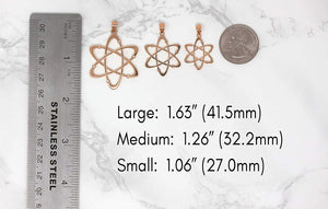 CaliRoseJewelry 10k Rose Gold Carbon Atom Science Reversible Charm Pendant Necklace