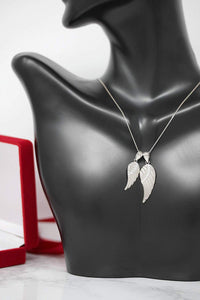 CaliRoseJewelry 14k White Gold Feather Angel Wing Diamond Pendant Necklace - Available in Two Sizes