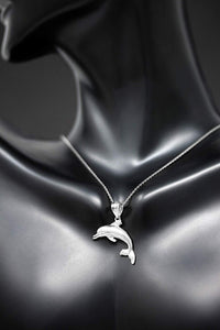 CaliRoseJewelry Sterling Silver Jumping Dolphin Ocean Sea Animal Pendant Necklace