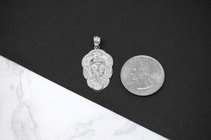 Sterling Silver Hindu Lord Ganesh Ganesha Head Elephant Hindu God of Fortune Charm Pendant