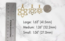 Load image into Gallery viewer, CaliRoseJewelry 14k Yellow Gold Carbon Atom Science Reversible Charm Pendant Necklace