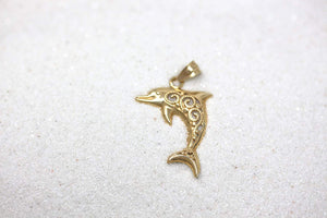 CaliRoseJewelry 10k Filigree Jumping Dolphin Ocean Animal Pendant