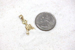 CaliRoseJewelry 10k Two Seahorses Kissing Charm Pendant Necklace