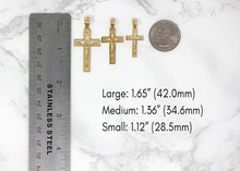 Load image into Gallery viewer, 14k Yellow Gold INRI Crucifix Cross Catholic Jesus Pendant Necklace