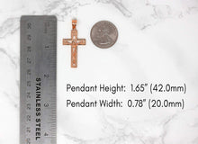 Load image into Gallery viewer, 10k Rose Gold INRI Crucifix Cross Catholic Jesus Pendant Necklace