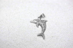 CaliRoseJewelry Sterling Silver Filigree Jumping Dolphin Ocean Animal Pendant