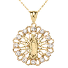 Load image into Gallery viewer, Shiny Filigree Lady of Guadalupe Decorative Pendant Necklace in Two-Tone Gold - solid gold, solid gold jewelry, handmade solid gold jewelry, handmade jewelry, handmade designer jewelry, solid gold handmade designer jewelry, chic jewelry, trendy jewelry, trending jewelry, jewelry that's trending, handmade chic jewelry, handmade trendy jewelry, mod-chic jewelry, handmade mod-chic jewelry, designer jewelry, chic designer jewelry, handmade designer, affordable jewelry